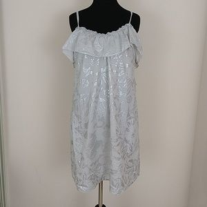 Rebecca Taylor Shimmery Gray Ruffle Mini Dress